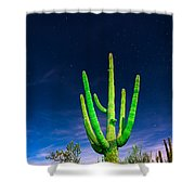 Saguaro Cactus Against Star Filled Sky Shower Curtain by Bryan Mullennix