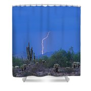 Saguaro Desert Lightning Strike Fine Art  Shower Curtain