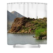Saguaro Lake Shore Shower Curtain