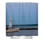 Sail Boat And Moon On Lake Ontario Shower Curtain