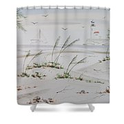 Sail Boat And Sea Oat 1 Shower Curtain