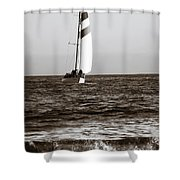 Sail Boat Coming Ashore 2 Shower Curtain