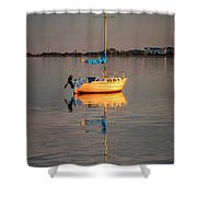 Sail Boat In Roanoke Sound 1x2 Ratio Img_3969 Shower Curtain