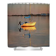 Sail Boat In Roanoke Sound 1x2 Ratio Photo Painting Img_3969 Shower Curtain