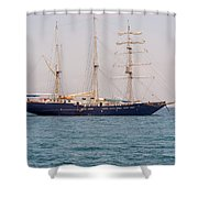 Sail Boat Near Galapagos Islands On Pacific Ocean Shower Curtain