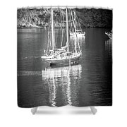 Sail Boat Yaht Parked At Harbor Bay Shower Curtain