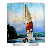 Sail Boats On The Lake Shower Curtain