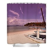 Sail Boats On Tropical Beach Shower Curtain