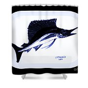 Sail Fish In Black And White Watercolor Shower Curtain