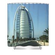 Sail-shaped Silhouette Of Burj Al Arab Jumeirah  Shower Curtain