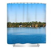 Sailboat And Cottages On Rocky Shower Curtain