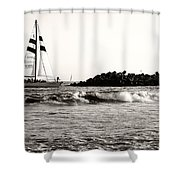 Sailboat And Lighthouse 2 Shower Curtain by Marilyn Hunt