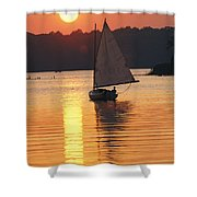Sailboat And Sunset, South River Shower Curtain