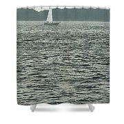 Sailboat And Waves, Piscataqua River, Maine 2004 Shower Curtain