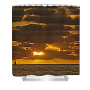 Sailboat As The Sun Sets Shower Curtain