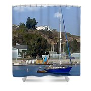 Sailboat At Anchor In Harbor Shower Curtain