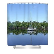 Sailboat At Dock Florida Shower Curtain
