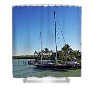 Sailboat At Royal Harbor Shower Curtain