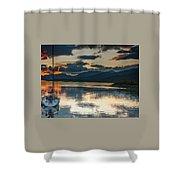 Sailboat At Sunset Shower Curtain