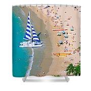 Sailboat At Waikiki Shower Curtain