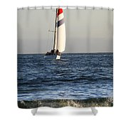 Sailboat Coming Ashore 1 Shower Curtain