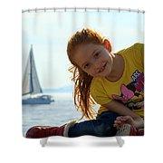 Sailboat Girl Shower Curtain