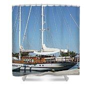 Sailboat In Harbor Summer Vacation Scene Shower Curtain