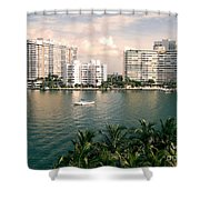 Sailboat In Miami Beach Florida Shower Curtain