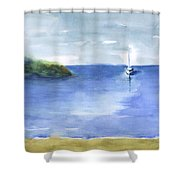 Sailboat In Still Waters Shower Curtain