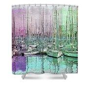 Sailboat Lineup - Watercolor Shower Curtain