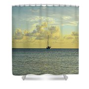 Sailboat On The Horizon Shower Curtain