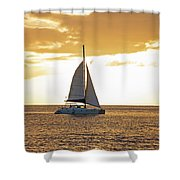 Sailboat Sailing Off Of Anse Chastanet At Sunset Saint Lucia Caribbean  Shower Curtain
