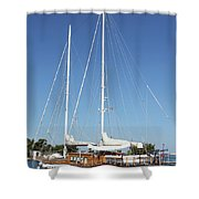 Sailboat Summer Vacation Scene Shower Curtain