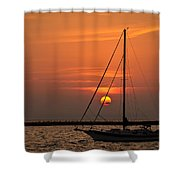 Sailboat Sunrise Chicago Shower Curtain