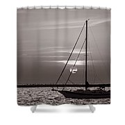Sailboat Sunrise In B And W Shower Curtain