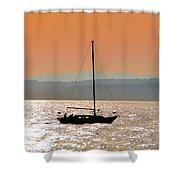 Sailboat With Bike Shower Curtain