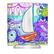 Sailboat With Sun Shower Curtain
