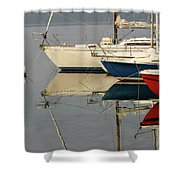 Sailboats And Reflections Shower Curtain