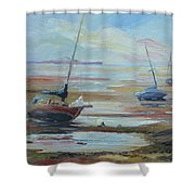 Sailboats At Low Tide Near Nelson, New Zealand Shower Curtain