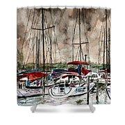 Sailboats At Night Shower Curtain