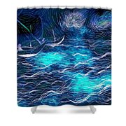 Sailboats In A Storm Shower Curtain