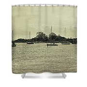 Sailboats In Gloucester Harbor Shower Curtain