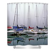 Sailboats In The Fog Shower Curtain