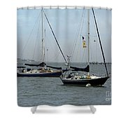 Sailboats In The Inlet Shower Curtain