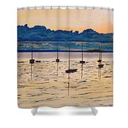 Sailboats Moored Clouds Front Ocean Sea Lake Shower Curtain