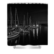 Sailboats Moored For The Evenin Shower Curtain