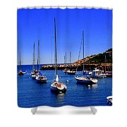 Sailboats Moored In Rockport Harbour. Shower Curtain