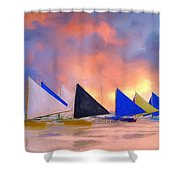Sailboats On Boracay Island Shower Curtain