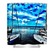 Sailboats Watching Weather Shower Curtain