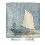 Sailing A Dory Shower Curtain by Winslow Homer